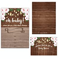 Avamie 20 Pack Rustic Floral Oh Baby Baby Shower Invitations with Envelopes, Baby Shower Invitations For Boys and Girls