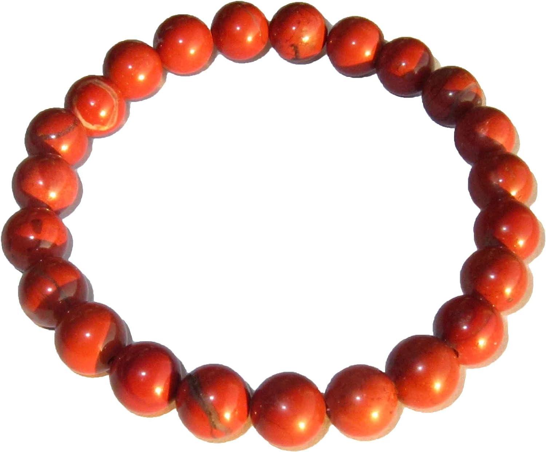 Pulsera Jaspe Rojo 20cm - Bolas de piedra 8mm - Cin cierre