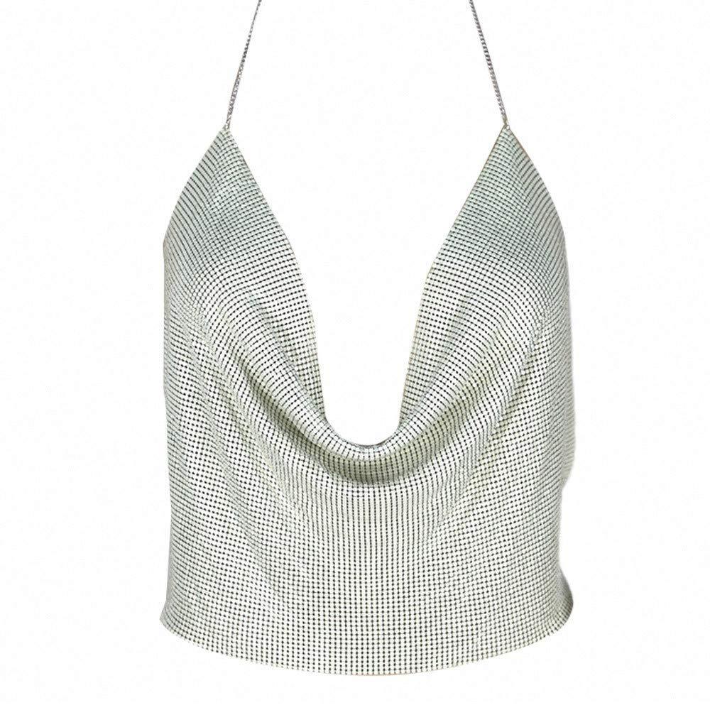 Hot Vest! VANSOON Women Sexy V-Neck Halter Backless Chain Sequined Tank Vest Bralette Crop Tops Cami T-Shirt White