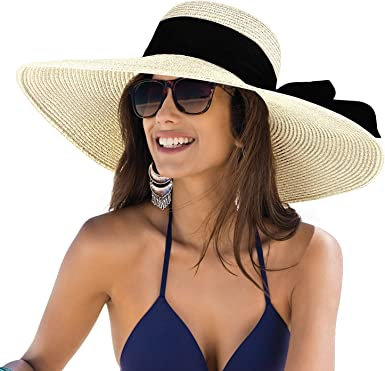 Sun Hats for Women, Floppy Wide Brim Beach Hats with UV UPF 50+ Protection  Straw Cap Beige at Amazon Women's Clothing store
