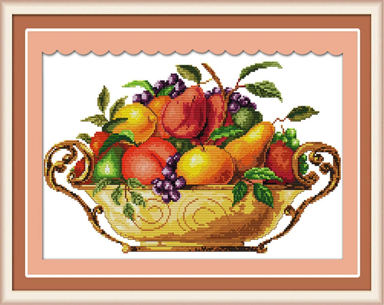 LanMent Fruit Dish Stamped Cross Stitch Counted Kits Cross-Stitching Pattern Embroidery for Beginner Adults Home Decor Birthday Gift 14CT 17.3 x 11 inches