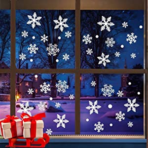 FeiGu 228PCS Christmas Snowflake Stickers, Double-Sided PVC Static White Snowflake Window Clings for Christmas Window Décor, Party Supplies