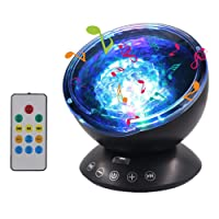 Songsun Remote Control Ocean Wave Projector Mood Light 12 LED &7 Colors Night Light with Built-in Mini Music Player for Living Room and Bedroom (12 LED Black)