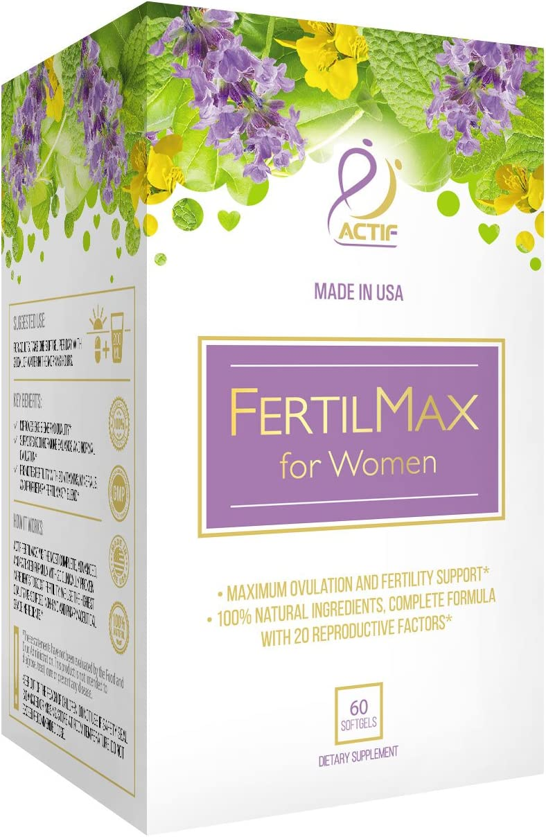ACTIF Organic FertilMax – 1 Fertility Supplement and Ovulation Support – Non-GMO, Made in USA, 60 count