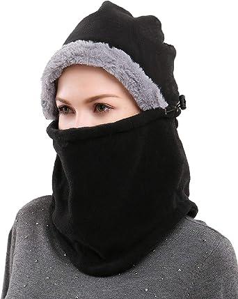 Yusongirl Winter Fleece Balaclava Ski Mask Windproof Head Ears Neck Warmer  Hats Warm Hat Cap Hood Balaclavas for Women Outdoor, Black at Amazon Women's  Clothing store