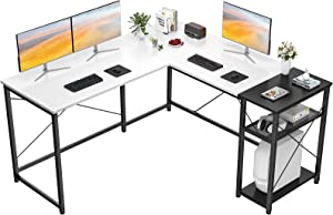 Homfio L Shaped Desk Computer Office Desk with Shelves Corner Computer Desk Large Gaming Table Industrial Simple Desk Workstation for Home Office Study Writing Table, White and Black