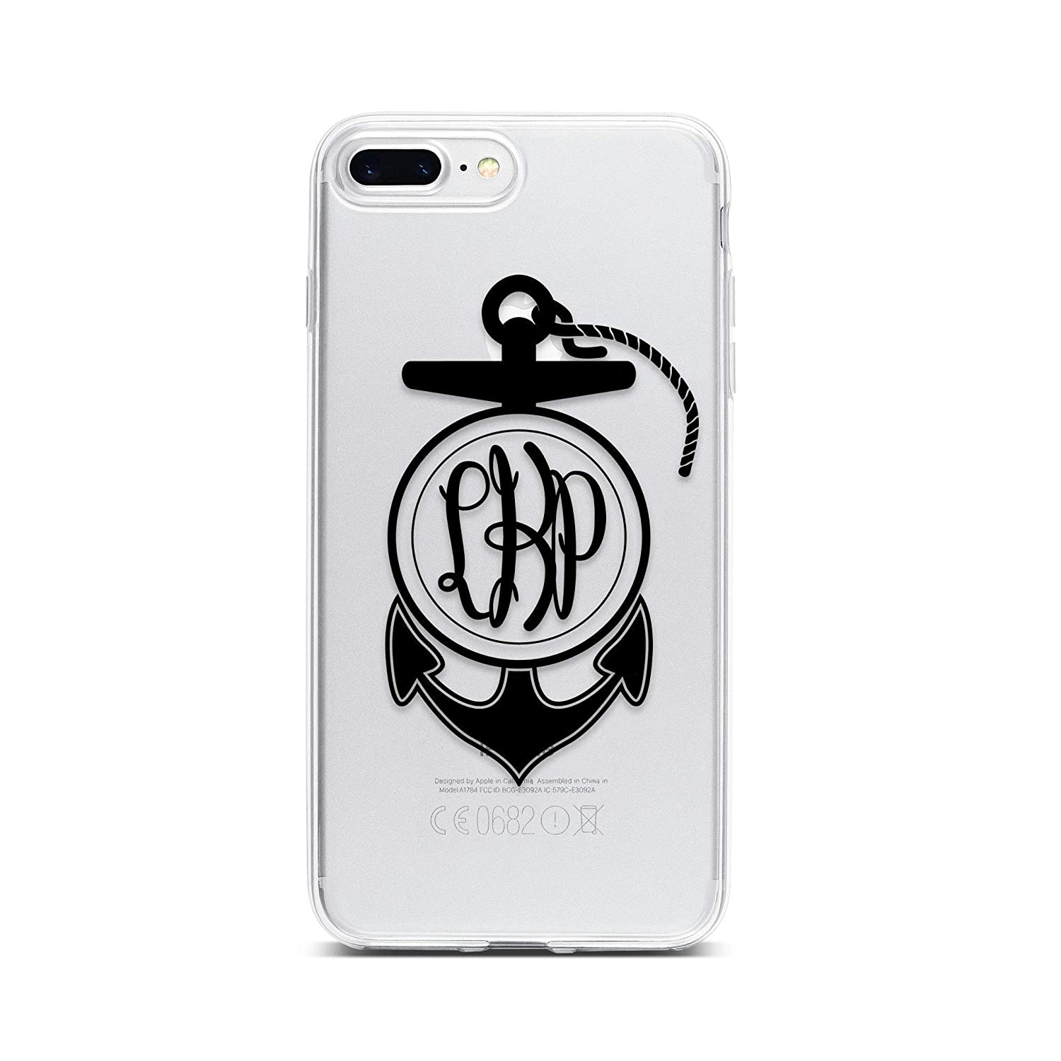 Monogram Anchor Clear Phone Case for iPhone XS Max XR X 10 8 Plus 7 6s 6 SE 5s 5 Personalize with Custom Initials
