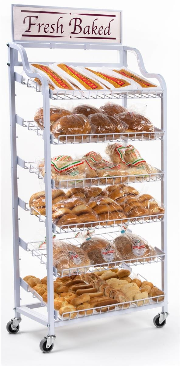 Displays2go Baker's Rack with 6 Adjustable Shelves Wire Display Rack with Wheels and 2 Sign Holders by Displays2go (Image #2)