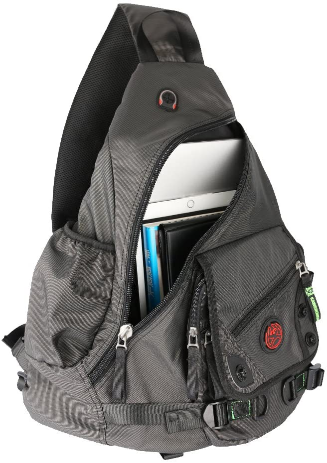 Kawei Knight Large Sling Bag Laptop Backpack Cross Body Messenger Bag Shoulder Travel Rucksack Black