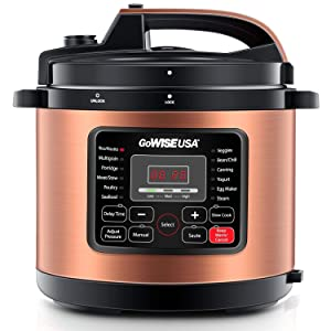 GoWISE USA 12-in-1 Electric Pressure Cooker + 50 Recipes for your Pressure Cooker Book with Measuring Cup, Stainless Steel Rack and Basket, Spoon (8-QT, Copper)