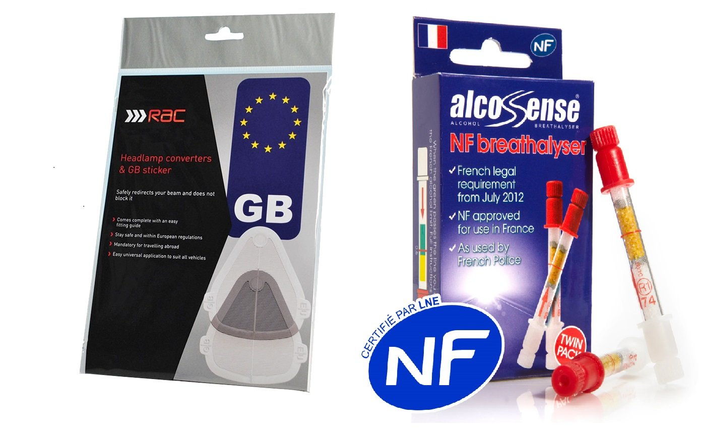 3 Piece European Travel Kit Headlamp RAC Beam Deflectors Headlight Converters, GB Sticker & AlcoSense Breathalyzer Twin Pack NF Approved French Breathalysers Gadgets4Travel