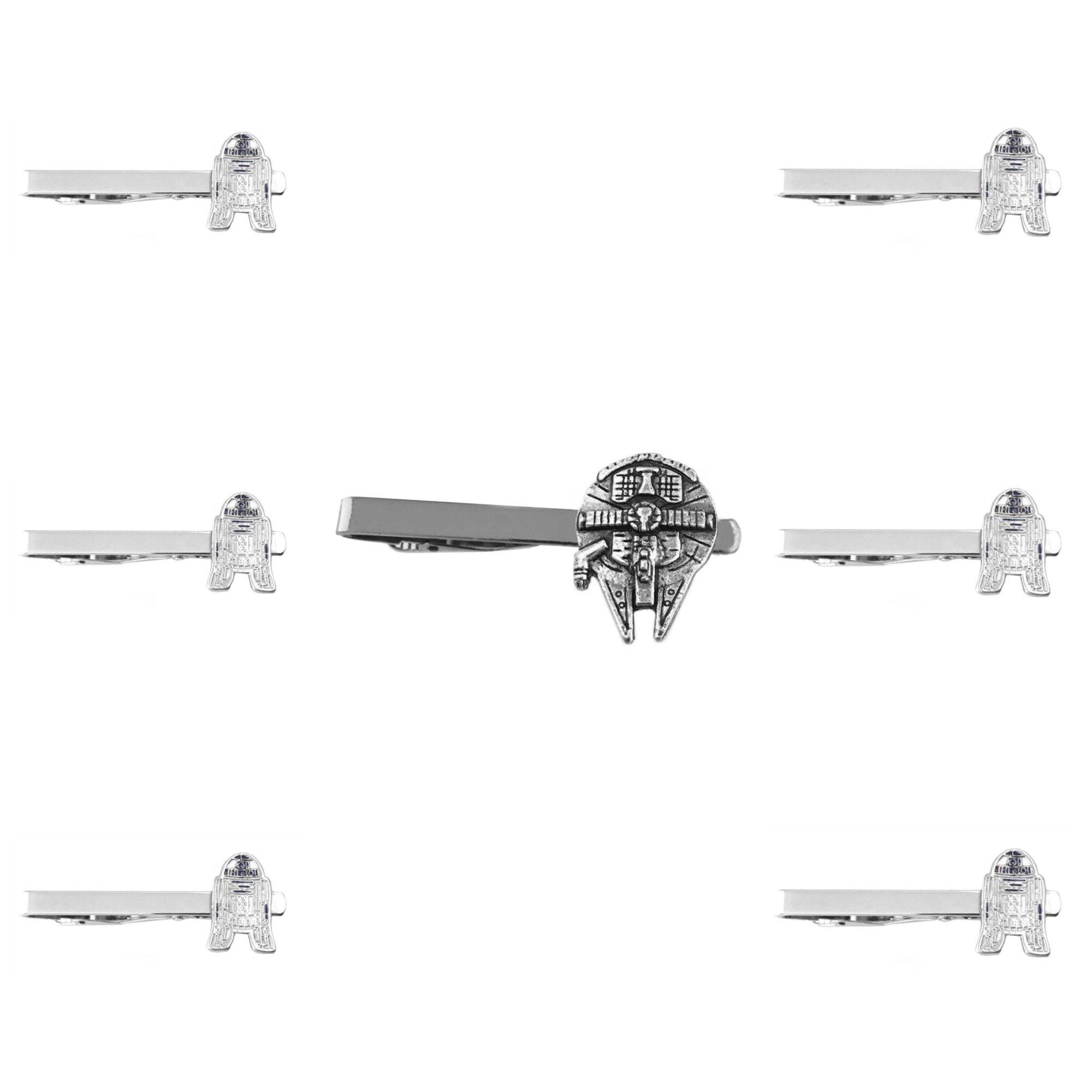 Outlander Star Wars - Millenium Falcon & R2-D2 - Tiebar Tie Clasp Set of 7 Wedding Superhero Logo w/Gift Box
