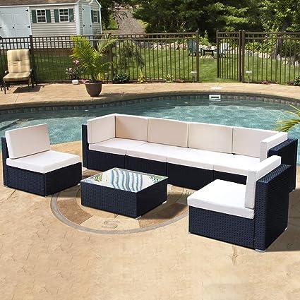 amazon com u max patio outdoor furniture couch pe black wicker rh amazon com