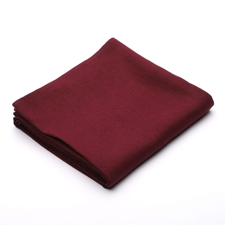 LinenMe Cherry Linen Tablecloth Lara 53' x 53', Herringbone Weave, Made in Europe, 100Percent European Linen, Machine wash
