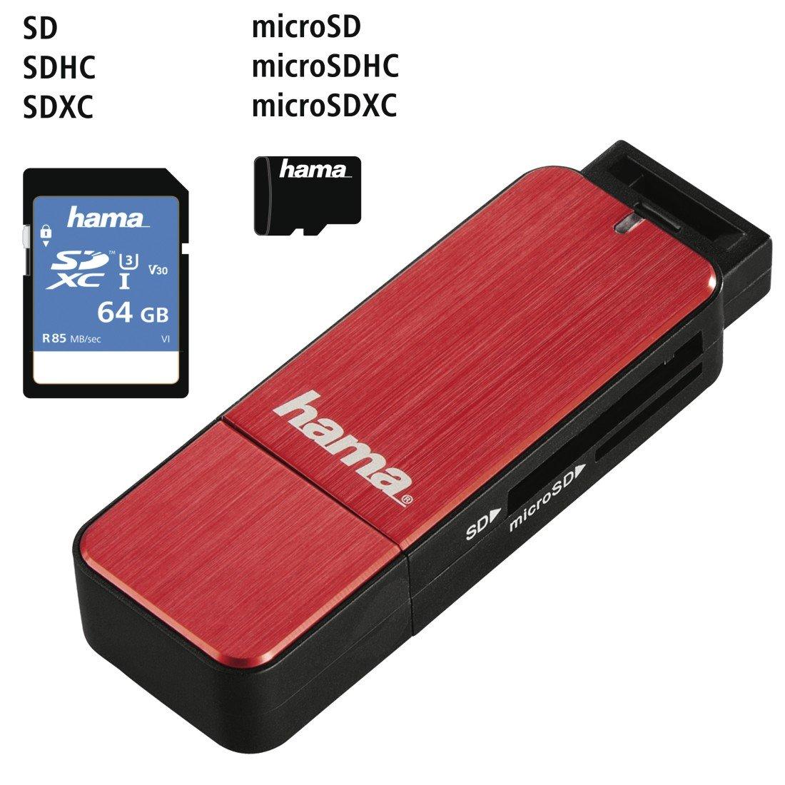 Lector de tarjetas externo SD, MicroSD, USB 3.0 Hama color negro
