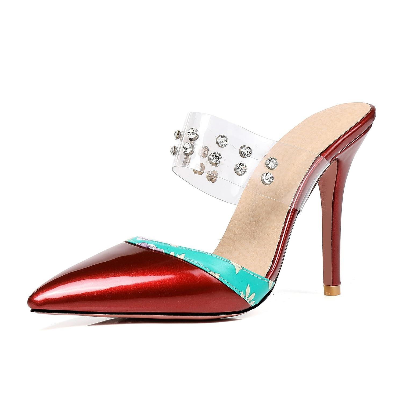 Sandales Femmes Talon Haut Fait Très Bien avec Une Grande Taille Flip Flop Fashion Rhinestone, Rouge, 34