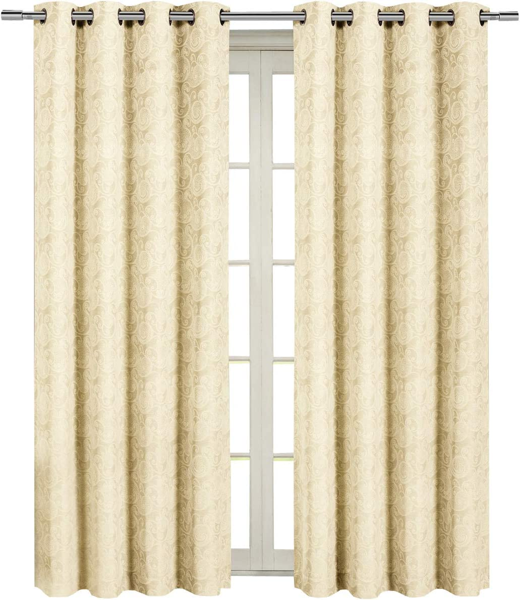 Royal Tradition Tabitha 54-Inch Wide x 108-Inch Long, Jacquard Grommet Top Single Curtain, Beige