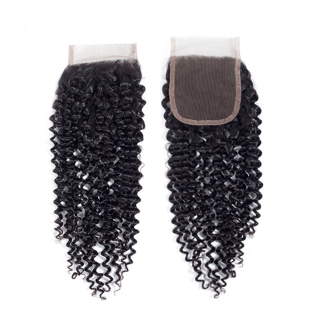 Amella Hair 10A Brazilian Virgin Curly Hair Weave 3 Bundles with Lace Closure Free Part 4x4 100% Unprocessed Brazilian Kinky Curly Hair Weave Bundles Natural Color(16 18 20+14inch) by Amella (Image #5)