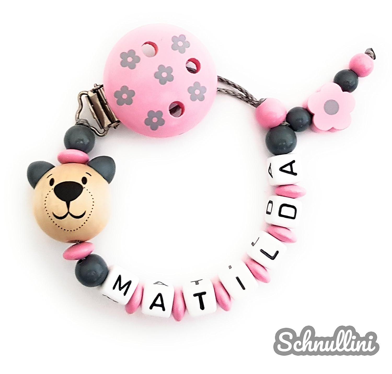 rosa Namenskette ❤️️ Schnullerkette mit Namen M/ädchen Blumenclip mit Teddy Bl/ümchen Gravur Geschenk Taufe Geburt individuell Stern