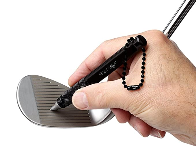 K&V Golf Afilador Estrías Palos de Golf Negro Profesional Groove Cleaner Herramienta Limpiar Hierros y Wedges - Mejora el Backspin y Control de la ...