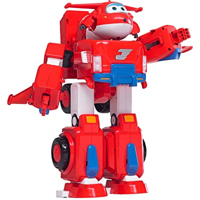 "Super Wings - Jett's Super Robot Suit Large Transforming Toy Vehicle | Includes Jett | 5"" Scale, Model:US720331: Toys & Games"