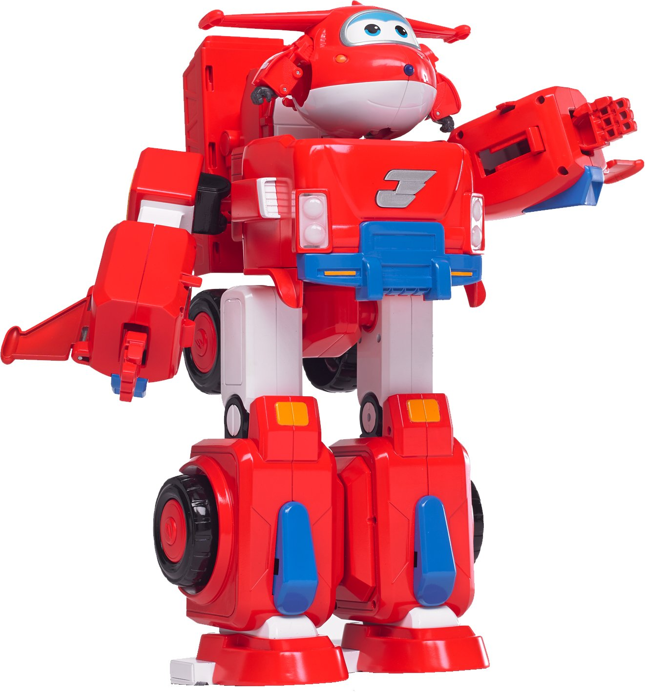 Super Wings - Jett's Super Robot Suit Large Transforming Toy Vehicle | Includes Jett | 5'' Scale
