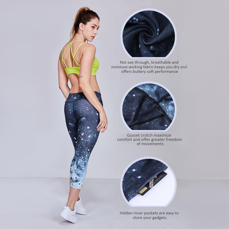 Matymats Women's Tummy Control Printed Yoga Capri Leggings Workout Running Active Pants Tights (Starry Sky, Medium)