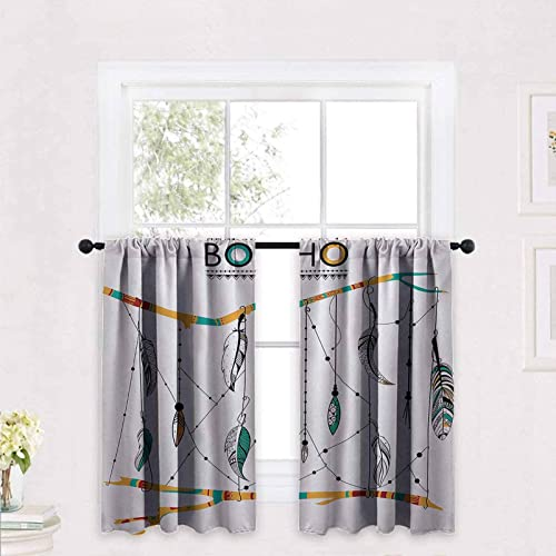 Native American Tier Curtains Native American Classic Retro Feathers Hippie Old Culture Ritual Artwork 2 Panels Rod Pocket Cafe Curtains Short Curtain 42 x 30 inch Multicolor