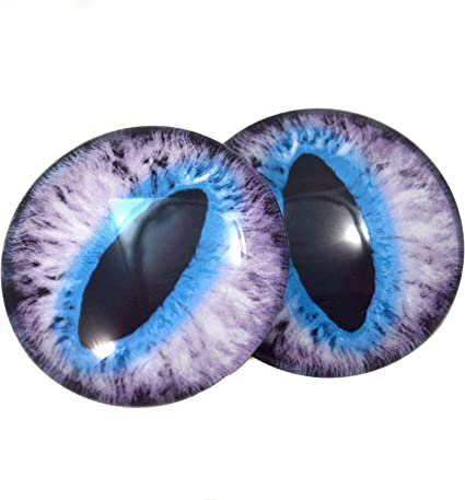 6mm to 40mm Purple and Teal Anime Glass Doll Eyes Jewelry Art Dolls Human Taxidermy Sculpture Polymer Clay Eyeball Flatback Domed Cabochon
