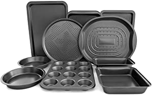 Giantex 10-Piece Nonstick Bakeware Set, Round and Square Baking Pans, Baking Sheets, Chip and Pizza Pan, Crisper Pan, Roasting Trays, 12-Cup Muffin and Loaf Pans, Cookie Sheet, Steel Baking Set
