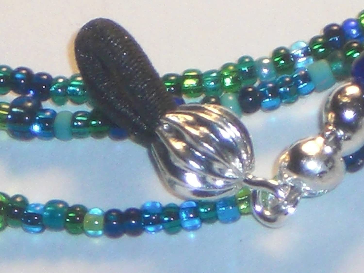 Peacock Blue Beaded Eyeglass Chain Holder Necklace 28 inches Fancy Ends New