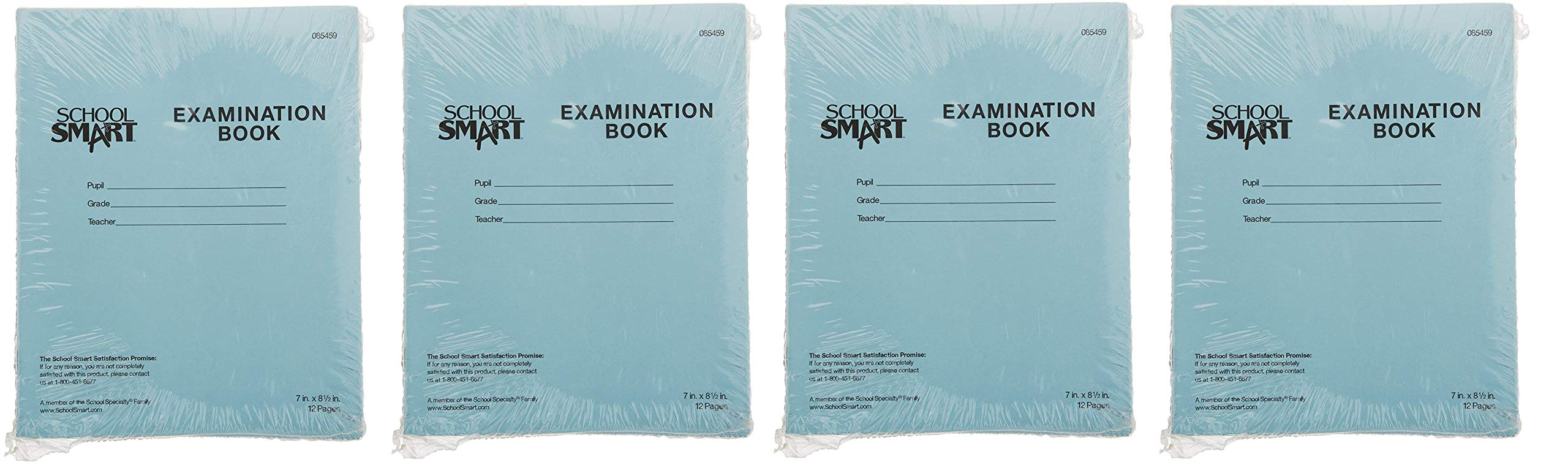 School Smart Examination Blue Book, 12 Pages, 7 x 8-1/2 Inches, 15 lbs, (4 X Pack of 50) by School Smart