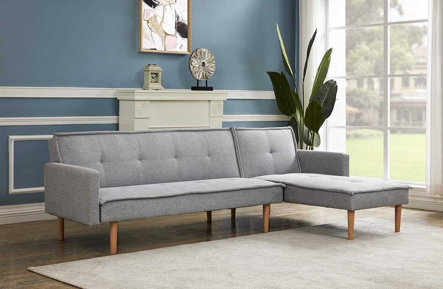 PCAFRS Sectional Sofa Couch for Living Room, L Shaped Sectional Sofa Couch, Futon Sofa Bed, Sofa Couch Set with Chaise Lounge for Living Room and Apartment, Adjustable Back, Light Grey