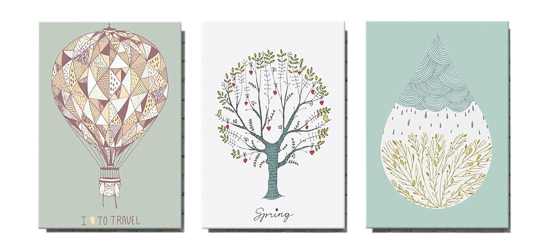 Artlina 「気球」 「春のツリー」 モダンアート キャンバス絵画 壁掛け 絵画 アートパネル ポスター 北欧風 3パネルセット (木枠付きの完成品) 40*60CM B075RQ658340*60CM