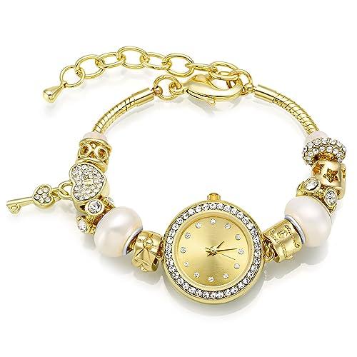 MANBARA Relojes Mujer Forma de Corazób de Cristal Swarovski con Perlas Blanco en Regalo Ajustable Reloj de Pulsera: Amazon.es: Joyería