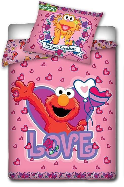 Copripiumino Lettino Con Sponde.Parure Copripiumino Lettino Con Sponde Rosa Elmo Sesame Street