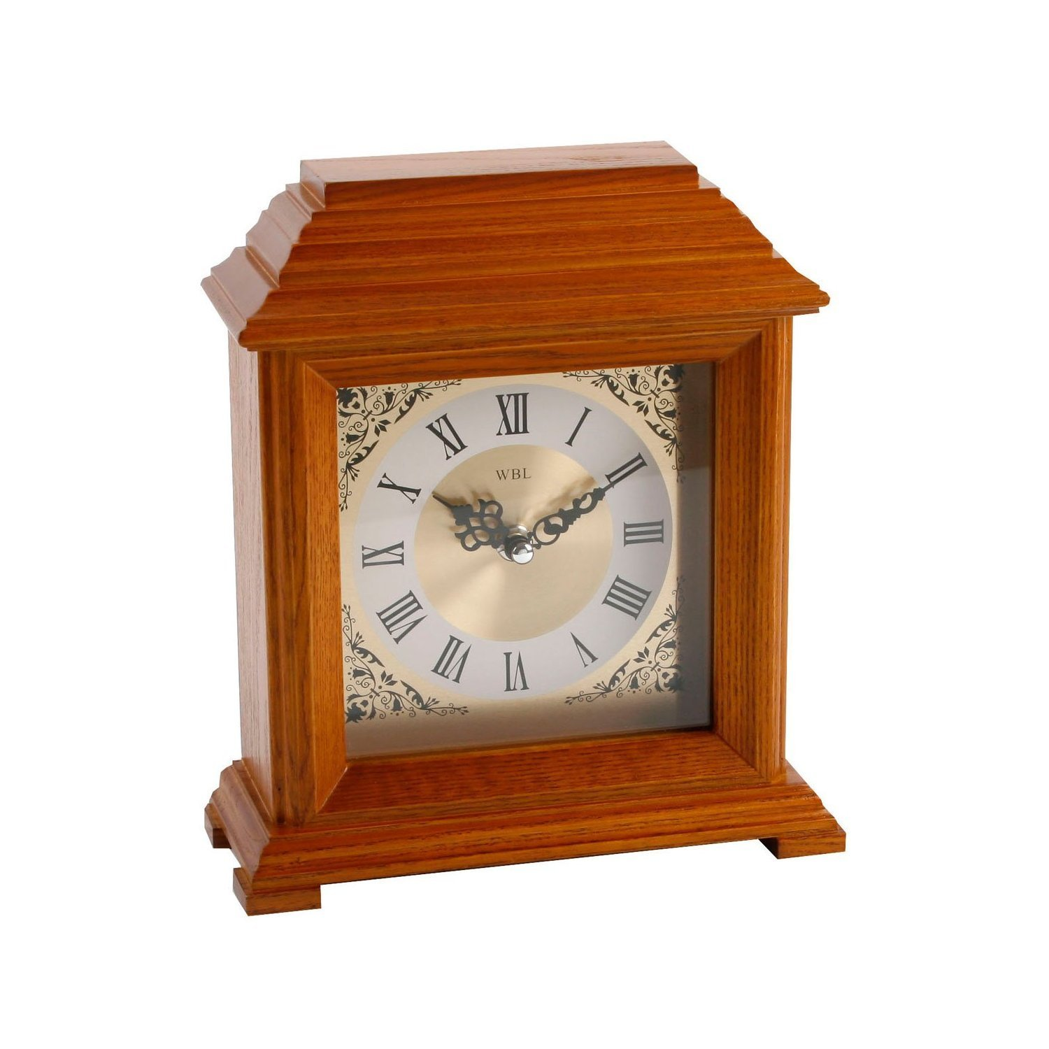 23cm Ornate Square Pillar Design Wooden Mantel Clock with Fancy Dial Watching Clocks
