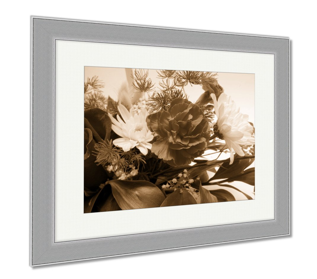 Ashley Canvas Blossoms Pattern, Wall Art Home Decoration, Sepia, 26x30 (frame size), Silver Frame, AG825223