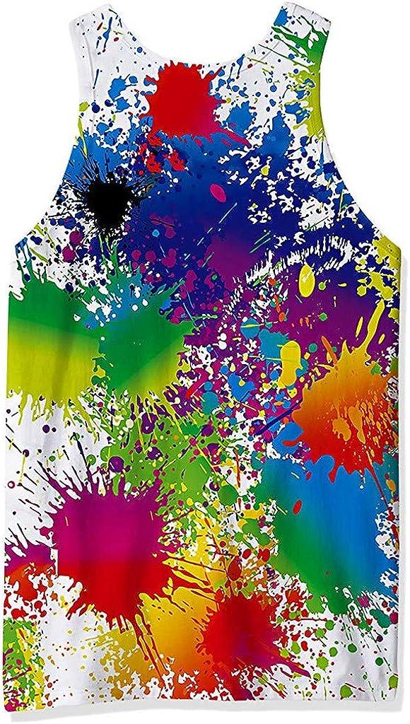 Canottiera Sportiva Da Uomo Canotta Fitness Senza Maniche Canotte 3D Stampa Colorata Palestra Allenamento Ragazzo Canottiere Tecnica Sportiva Estiva T Shirt Maglietta Ad Asciugatura Rapida Uomini