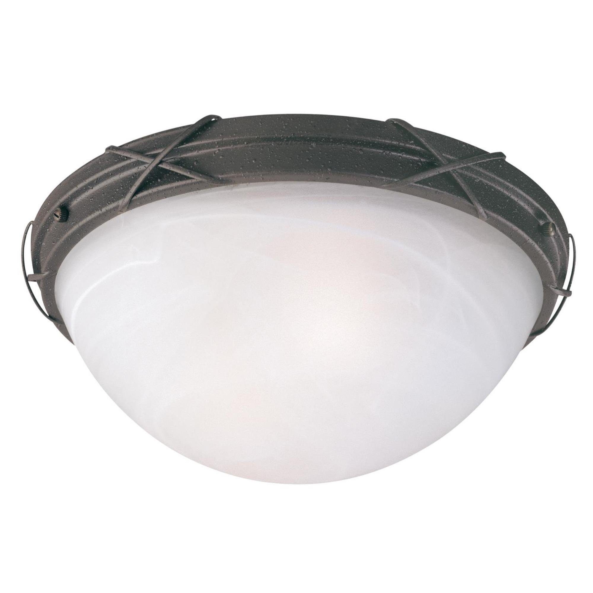 Westinghouse 6940700 Claremont Two-Light Exterior Flush-Mount Fixture Textured Rust Patina on Steel with White Alabaster Glass, Textured Rust Patina on Steel with White Alabaster Glass