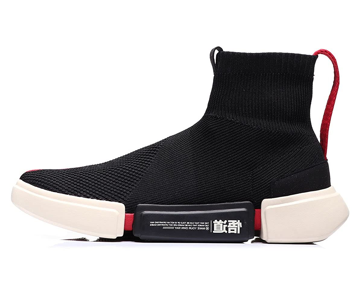 Black-5h Li-Ning NYFW Wade Essence Men Breathable Lightweight Basketball Culture shoes Lining High Top Knit Sports Sock shoes ABCM113