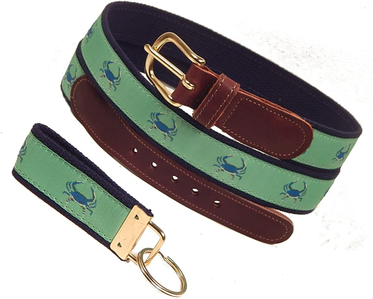 Preston Leather Blue Crab On Green Ribbon Belt Sizes 30 to 50 FREE Matching Key Ring