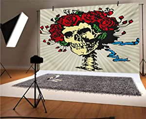 Rose 20x10 FT Vinyl Photo Backdrops,Tattoo Art Style Graphic Skull in Red Flowers Crown Halloween Composition Print Background for Child Baby Shower Photo Studio Prop Photobooth Photoshoot