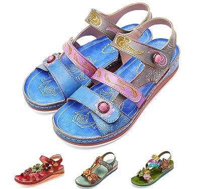394067928a37ba Gracosy Sandales Cuir Femmes, Chaussures de Ville Été Sandales ...