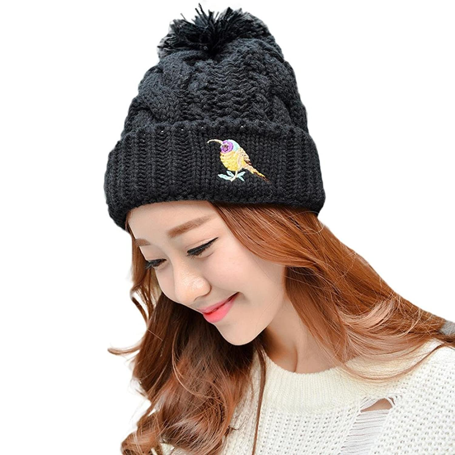 Knit Hats, Doinshop Women's Thick Oversized Cable Knitted Cotton Pom Pom Beanie Cap