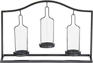 "Benzara Antique Colonial Metal Glass Votive Holder 16"" W, 11"" H, Black/Clear"