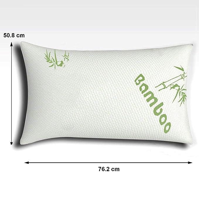 The Bamboo Pillow Almohada Cervical de virutas de Espuma de Memoria y bambú en Blanco - Almohada viscoelástica para Confort Fresco y firmeza del ...