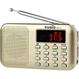 TIVDIO PR11 Am Fm Radio Portable Rechargeable Transistor Radios Small with Headphone Jack Mp3 Music Player Speaker Support Micro IF Card (Gold)