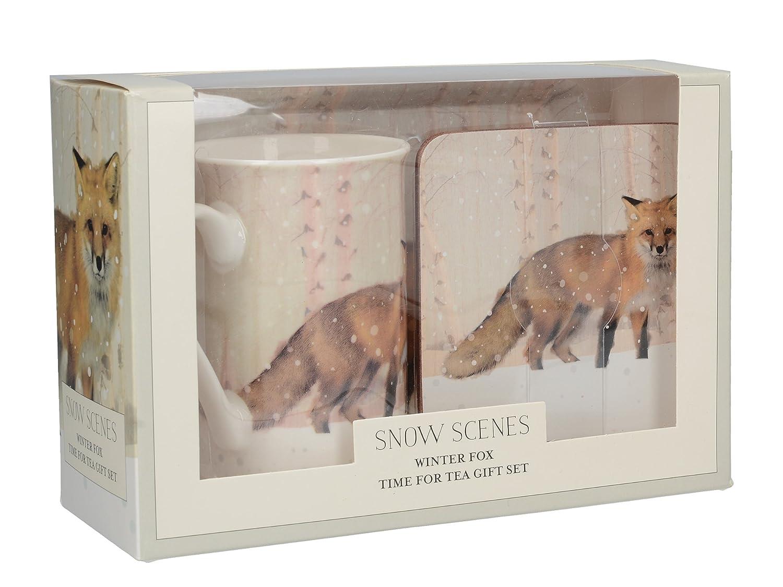 Multicolore Colore Creative Tops Snow Scene Stag Time for Tea/%2FCoaster/%2FTray Confezione Regalo