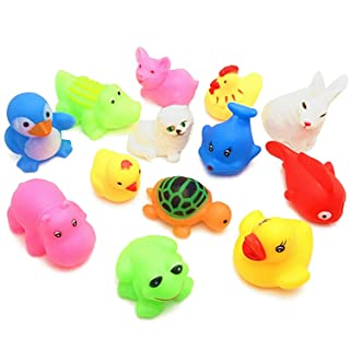 Gosear 20pcs Soft Cute Vinyl Press Squeaky Squeaking Sound Bath Bathtub Toys Cartoon Animal Bathing Shower Floating Toy Gifts for Children Baby Kids Toddlers